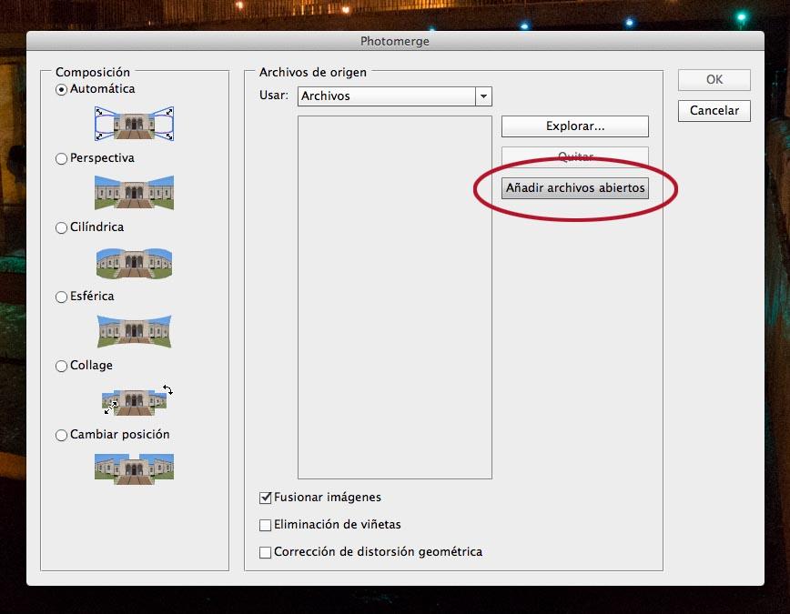 archivos abiertos PHOTOMERGE