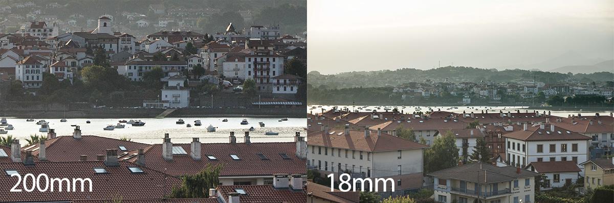diferencia entre objetivo 18mm y 200mm
