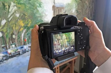 fotografiando un cuadro a pulso